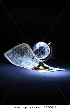 Glassy Globe And Dollar