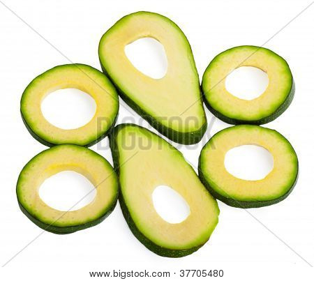 Slice Avocado On White Background