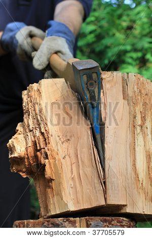 axe chops firewood