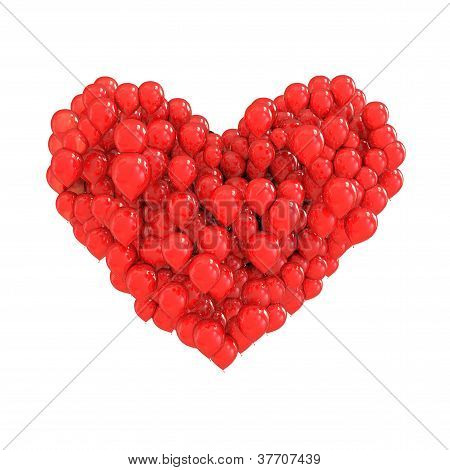 Red Balloons Forming A Heart