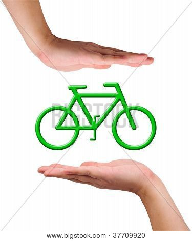 Conceptual Image, Caring For Environment By Riding  A Bike.