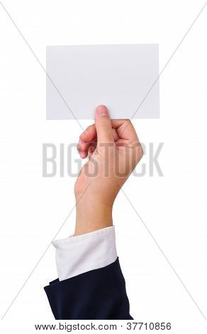 Business Man's Hand And A Card