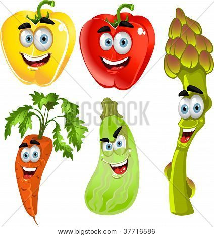 Funny cute vegetables - peppers, asparagus, carrots, zucchini