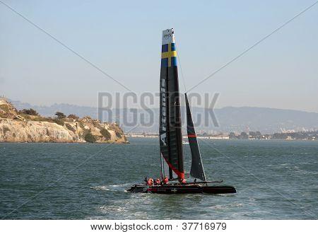 America's Cup Artemis Boat In Practice Run