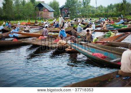 Dal Lake Morning Vegetable Market Wide