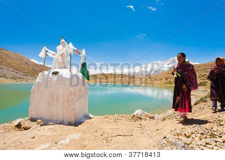 Stupa Alpine Lake Pilgrims Dhankar Spiti Valley
