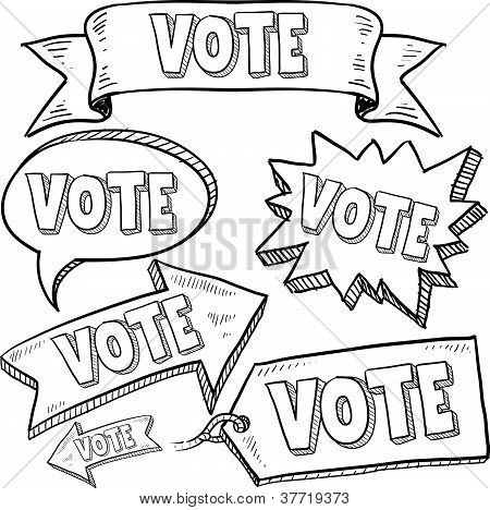 Vote in election banners and stickers