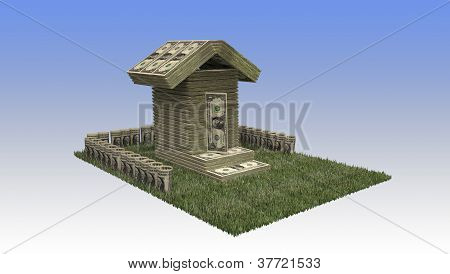 One dollar bills stock house on grass porch and blue gradient background