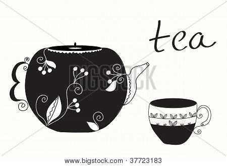 Tea cup and teapot menu background