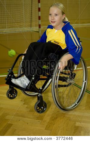 Handicapped Person Sport Handball In The Wheelchair