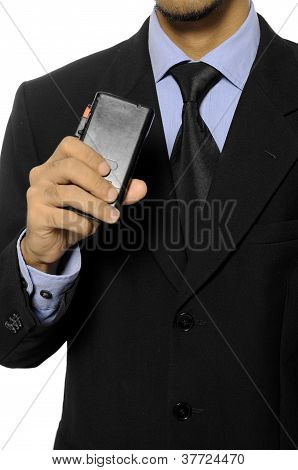 Business Man Hold Dictaphone