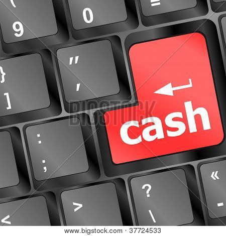 Red Cash Button On Computer Keyboard Showing Business Concept
