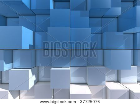 An abstract background image of blue and white cubes