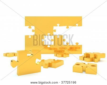 Gold jigsaw pieces forming a wall