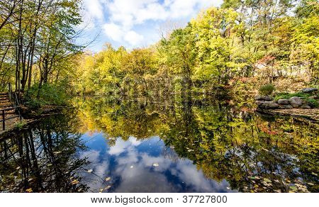 Autumn Landscape With Trees Reflection In The Lake.