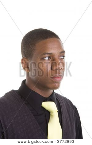 Young Black Man Yellow Tie Looking To Side
