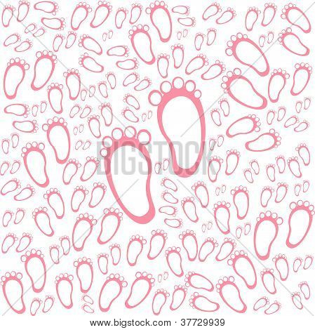 Baby Girl Arriival Card With Many Foot Steps Background