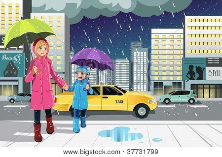 Filha de mãe na chuva