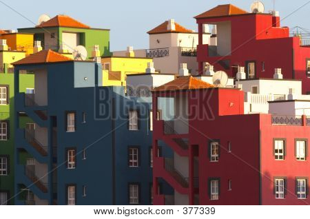 Multicolored Buildings In Praya De Las Americas Tenerife Canary