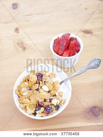Bowl Of Cereal With Strawberries