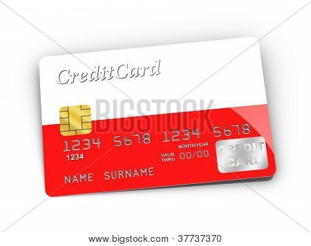 Credit Card Covered With Polish Flag.
