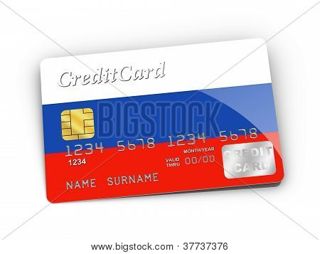 Credit Card Covered With Russia Flag.