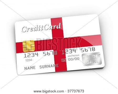 Credit Card Covered With English Flag.