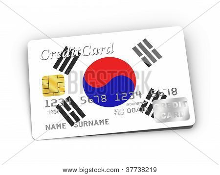 Credit Card Covered With South Korean Flag.