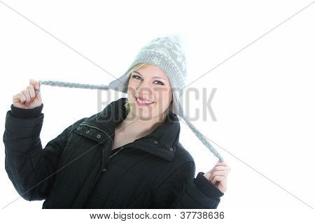 Playful Woman In Winter Hat