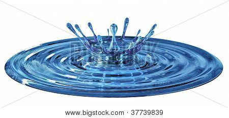 dripping and splash blue water
