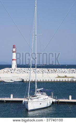 Marina with yachts and boats