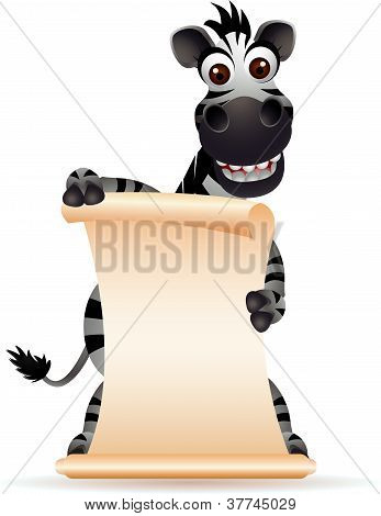 cute zebra head cartoon with blank sign