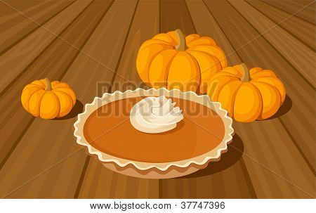 Pumpkin pie and orange pumpkins. Vector illustration.