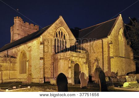 Priory Church of St. Mary at night