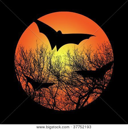Moon with branches and bats