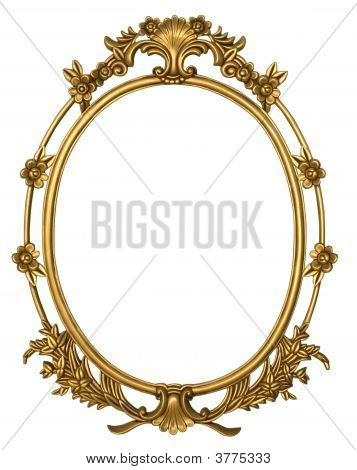 Ovul Gold Frame With Flowers