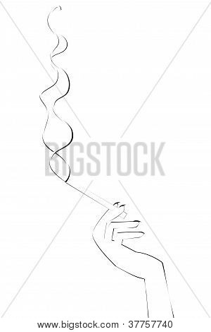 Hand With Cigarette And Smoke