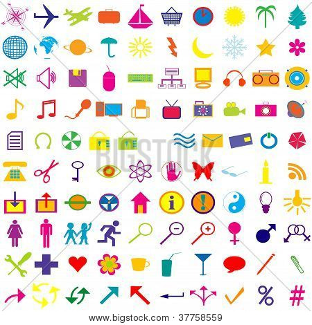 Set Of Colored Web Icons