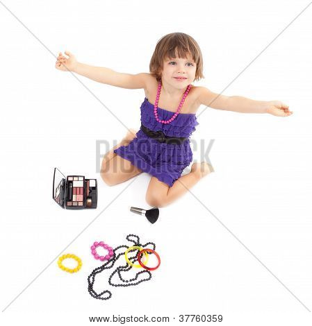 Cute Little Girl With Makeup, Necklaces And Bracelets Is In Adulthood