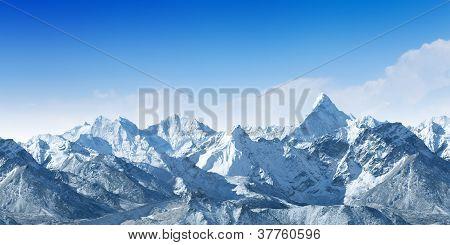high mountains under snow