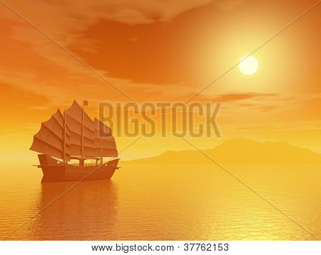 Oriental Junk By Sunset