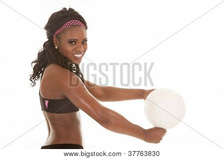 Woman Close Hit Volleyball