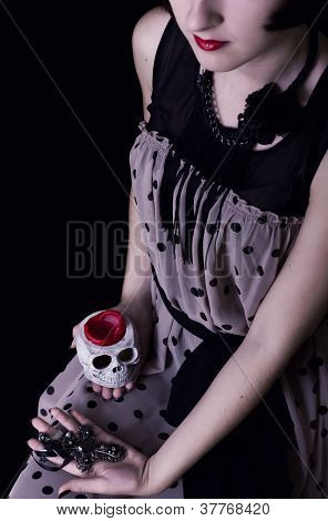 Halloween Vampire - Girl With A Skull And Cross