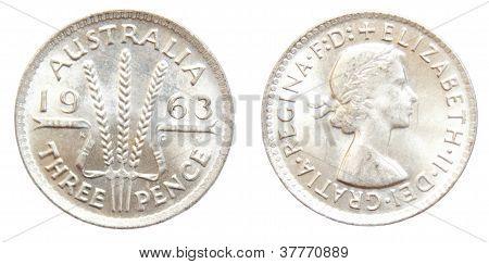 1963 Australian Threepence silver coin