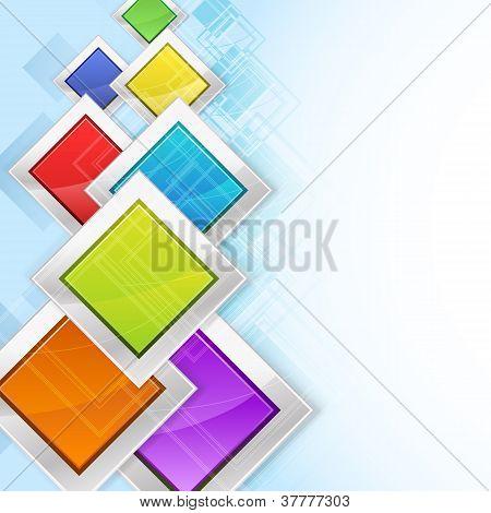 Colorful Rhombus In Metallic Frames