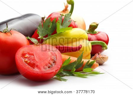 Collection Of Vegetables On White
