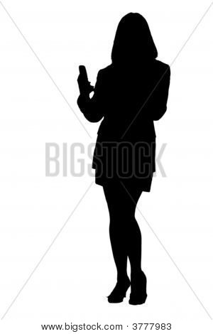 Business Woman Texting And Phoning