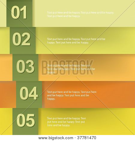 Paper Numbered Banners In Autumn Colors Design Template