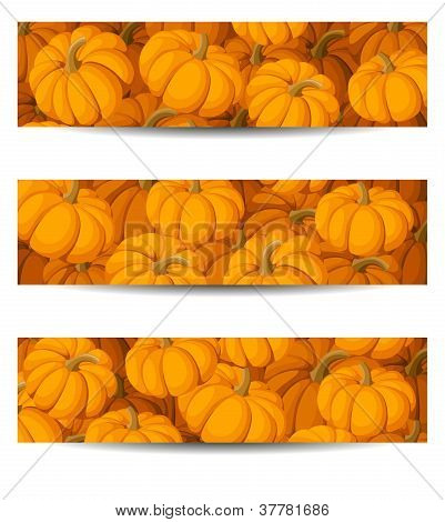 Three vector banners (468x120px) with orange pumpkins.