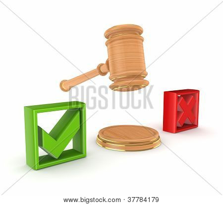 Lawyer's hammer between tick and cross marks.